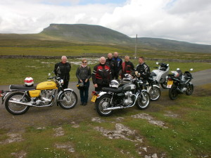 A good ride out in dry weather again, 7 bikes attended the 146 mile run, Pen-y-ghent forms a nice backdrop in the photo.