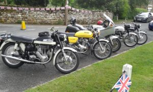 9 bikes attended the very eventful run (6 Norton's), a full report will be given at the July meeting. The bikes here are parked up in Rosedale.